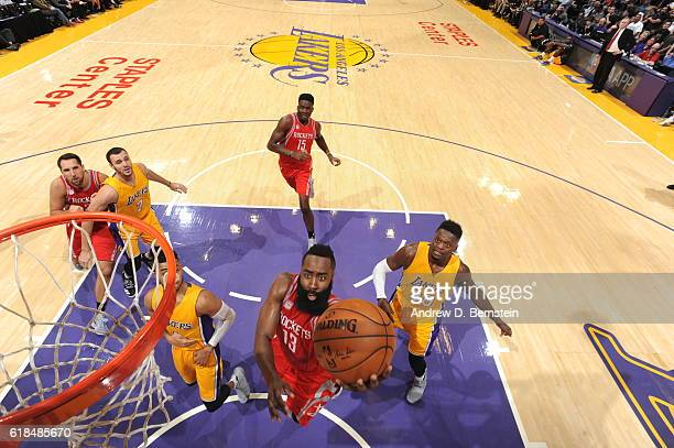 James Harden of the Houston Rockets shoots the ball against the Los Angeles Lakers on October 26 2016 at STAPLES Center in Los Angeles California...