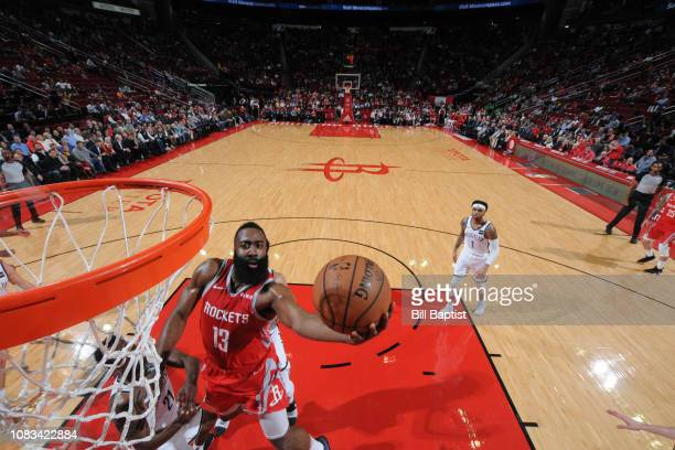 James Harden of the Houston Rockets shoots the ball against the Brooklyn Nets on January 16 2019 at the Toyota Center in Houston Texas NOTE TO USER...