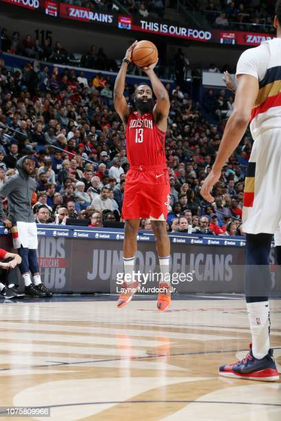 James Harden of the Houston Rockets shoots the ball against the New Orleans Pelicans on December 29 2018 at the Smoothie King Center in New Orleans...