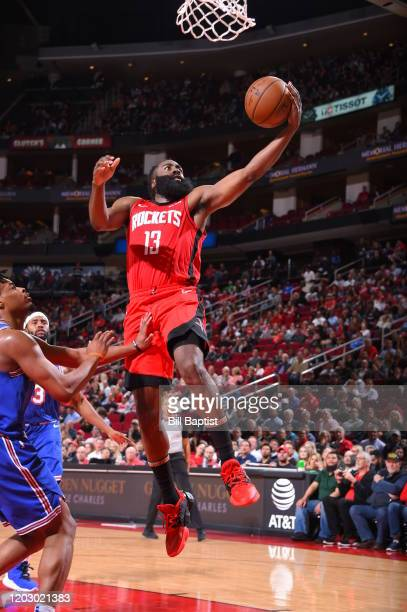 James Harden of the Houston Rockets shoots the ball against the New York Knicks on February 24 2020 at the Toyota Center in Houston Texas NOTE TO...