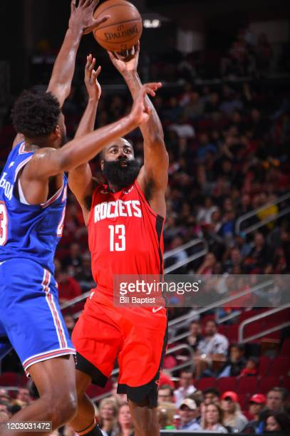 James Harden of the Houston Rockets shoots the ball against the New York Knicksl on February 24 2020 at the Toyota Center in Houston Texas NOTE TO...