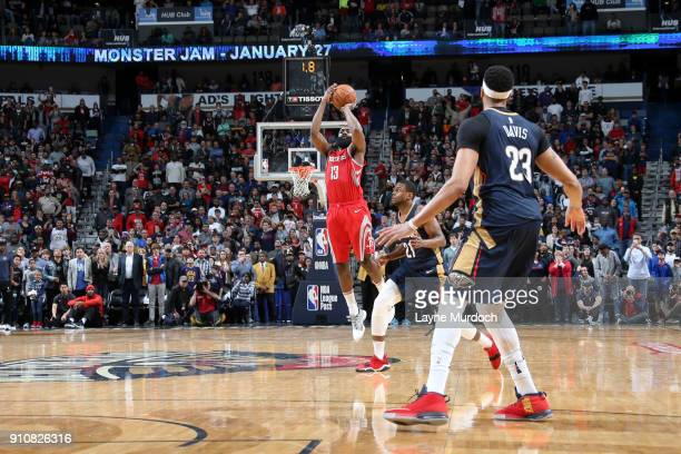 James Harden of the Houston Rockets shoots the ball against the New Orleans Pelicans on January 26 2018 at Smoothie King Center in New Orleans...
