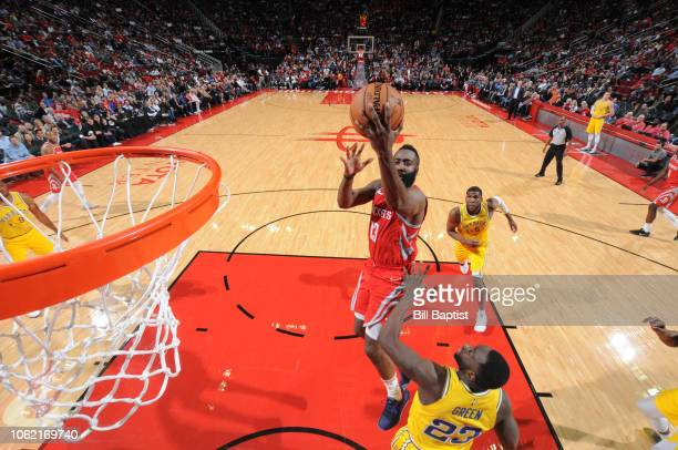 James Harden of the Houston Rockets shoots the ball against the Golden State Warriors on November 15 2018 at the Toyota Center in Houston Texas NOTE...