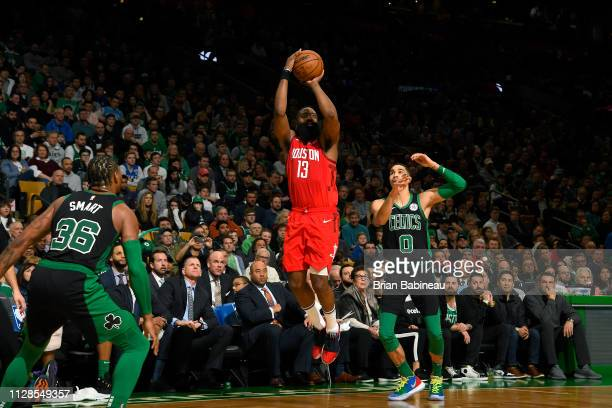 James Harden of the Houston Rockets shoots the ball against the Boston Celtics on March 3 2019 at the TD Garden in Boston Massachusetts NOTE TO USER...