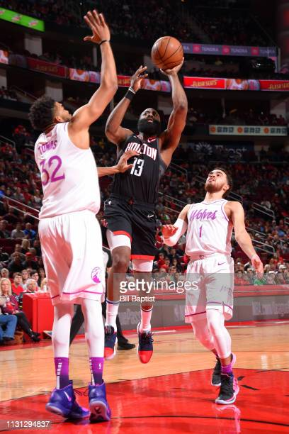 James Harden of the Houston Rockets shoots the ball against the Minnesota Timberwolves on March 17 2019 at the Toyota Center in Houston Texas NOTE TO...
