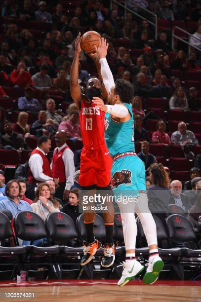 James Harden of the Houston Rockets shoots the ball against the Memphis Grizzlies on February 26 2020 at the Toyota Center in Houston Texas NOTE TO...