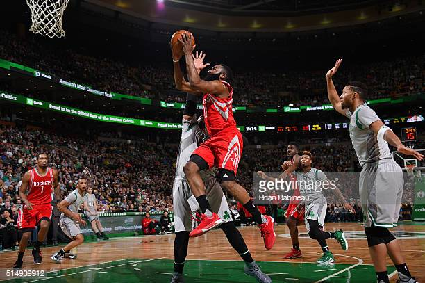 James Harden of the Houston Rockets shoots the ball against the Boston Celtics on March 11 2016 at the TD Garden in Boston Massachusetts NOTE TO USER...