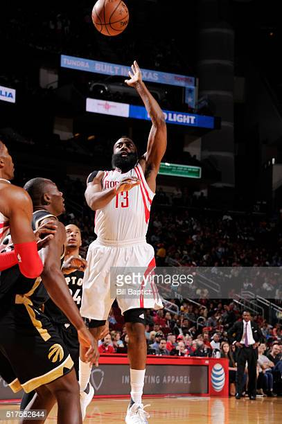 James Harden of the Houston Rockets shoots the ball against the Toronto Raptors on March 25 2016 at the Toyota Center in Houston Texas NOTE TO USER...