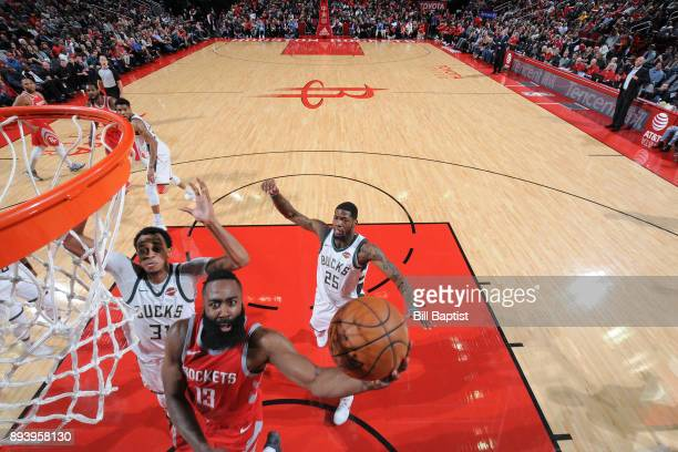 James Harden of the Houston Rockets shoots the ball against the Milwaukee Bucks on December 16 2017 at the Toyota Center in Houston Texas NOTE TO...