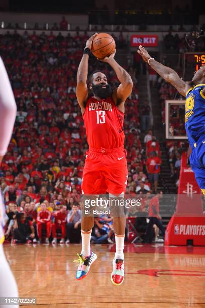 James Harden of the Houston Rockets shoots the ball against the Golden State Warriors during Game Six of the Western Conference Semifinals of the...
