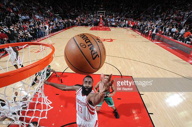 James Harden of the Houston Rockets shoots the ball against the Boston Celtics during the game on December 5 2016 at the Toyota Center in Houston...