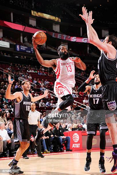 James Harden of the Houston Rockets shoots the ball against the Sacramento Kings during the game on December 14 2016 at the Toyota Center in Houston...