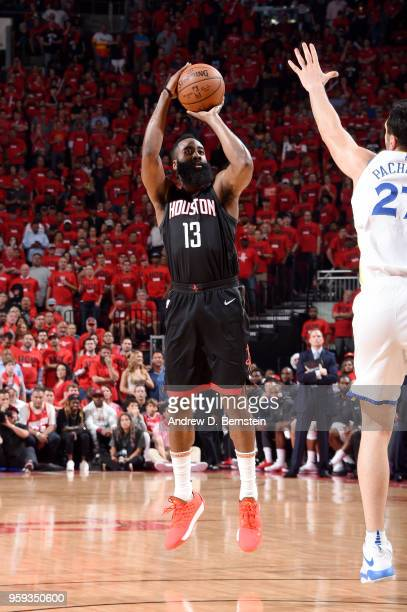 James Harden of the Houston Rockets shoots the ball against the Golden State Warriors during Game Two of the Western Conference Finals of the 2018...