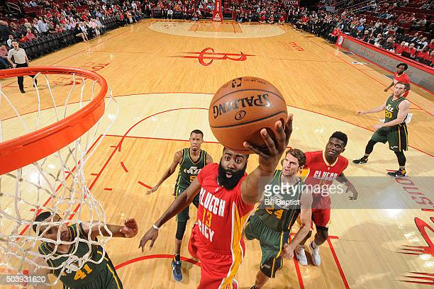 James Harden of the Houston Rockets shoots the ball against the Utah Jazz on January 7 2016 at the Toyota Center in Houston Texas NOTE TO USER User...