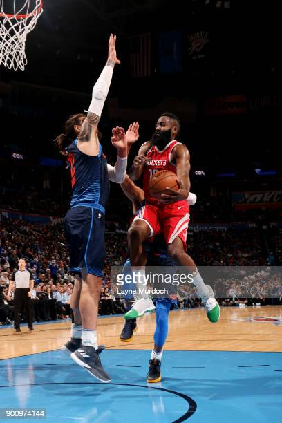 James Harden of the Houston Rockets shoots the ball during the game against the Oklahoma City Thunder on December 25 2017 at Chesapeake Energy Arena...
