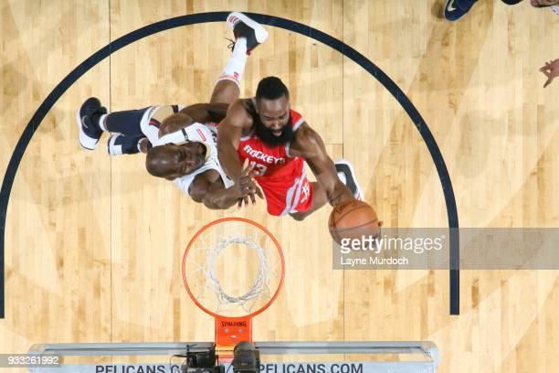 James Harden of the Houston Rockets shoots the ball during the game against the New Orleans Pelicans on March 17 2018 at the Smoothie King Center in...