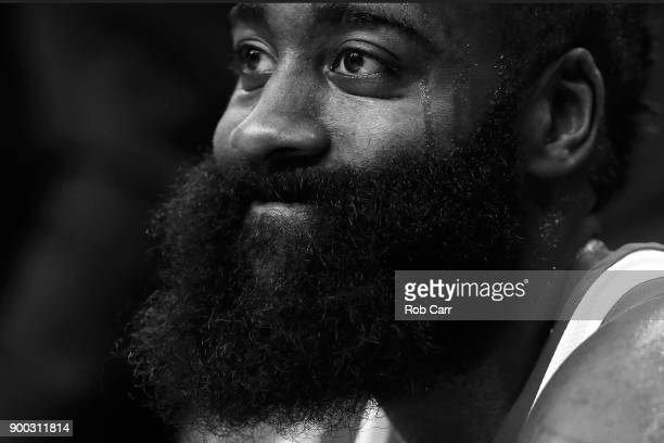 James Harden of the Houston Rockets sits on the bench during the second half against the Washington Wizards at Capital One Arena on December 29 2017...