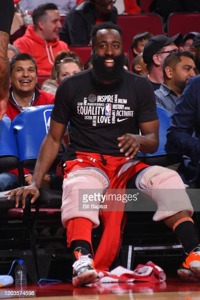 James Harden of the Houston Rockets smiles during the game against the Memphis Grizzlies on February 26 2020 at the Toyota Center in Houston Texas...