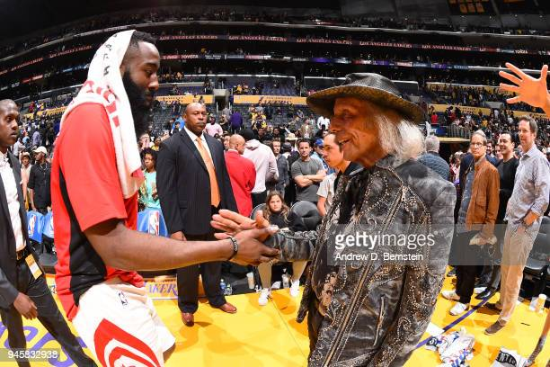 James Harden of the Houston Rockets speaks to James Goldstein after the game against the Los Angeles Lakers on April 10 2017 at STAPLES Center in Los...