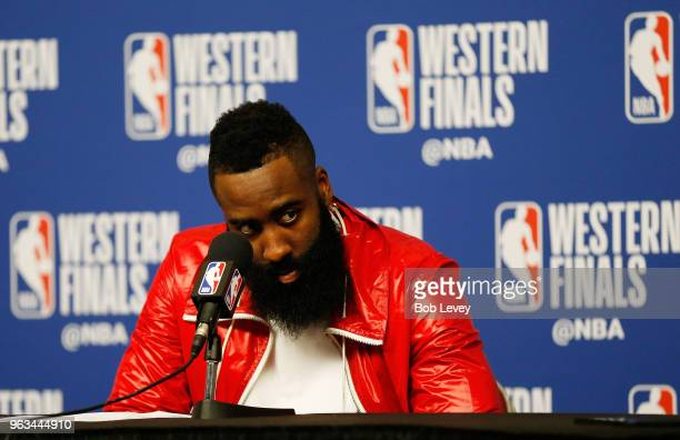 James Harden of the Houston Rockets speaks to the media after their 92 to 101 loss to Golden State Warriors in Game Seven of the Western Conference...