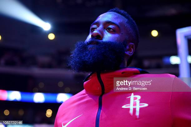 James Harden of the Houston Rockets stands for the National Anthem before the game against the LA Clippers on October 21 2018 at Staples Center in...