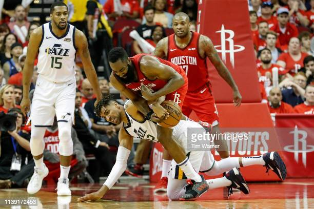 James Harden of the Houston Rockets steals the ball from Thabo Sefolosha of the Utah Jazz in the second half during Game Five of the first round of...