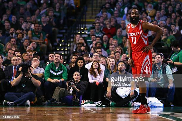 James Harden of the Houston Rockets storms off in reaction to a foul called against him during the third quarter against the Boston Celtics at TD...