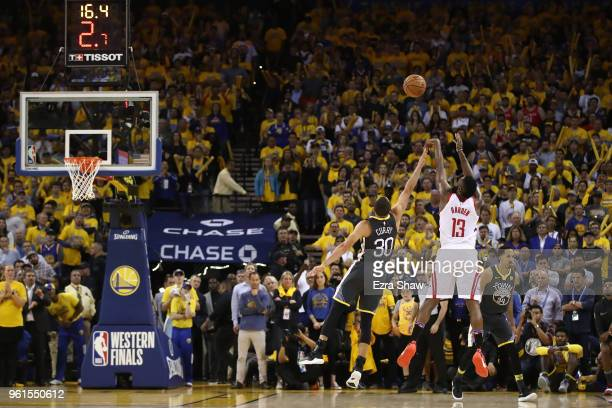 James Harden of the Houston Rockets takes a shot in the final moments of their 9592 win over the Golden State Warriors in Game Four of the Western...