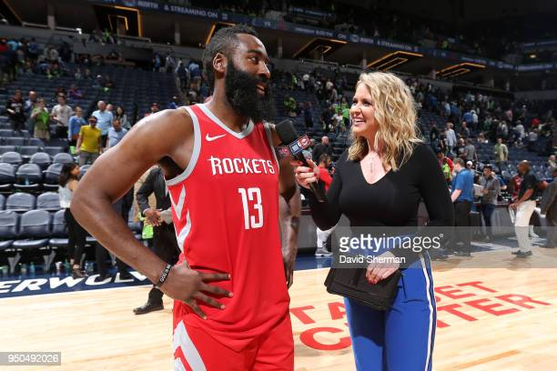 James Harden of the Houston Rockets talks to the media after the game against the Minnesota Timberwolves in Game Four of Round One of the 2018 NBA...