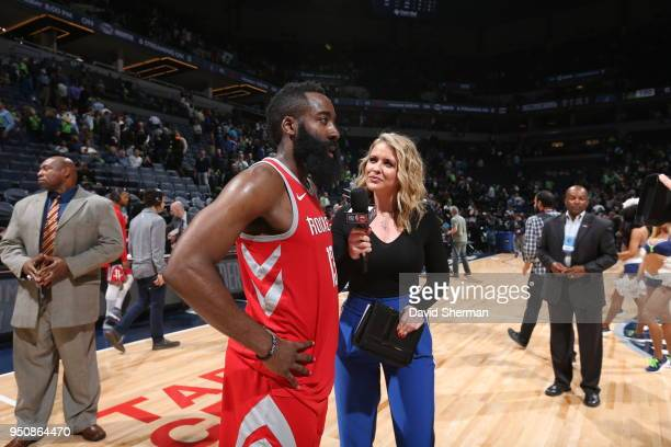 James Harden of the Houston Rockets talks to the media following Game Four of Round One of the 2018 NBA Playoffs against the Minnesota Timberwolves...