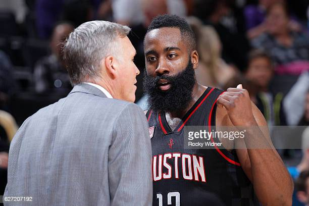 James Harden of the Houston Rockets talks with Head coach Mike D'Antoni during the game against the Sacramento Kings on November 25 2016 at Golden 1...