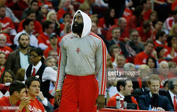 James Harden of the Houston Rockets waits near the bench during the game against the Oklahoma City Thunder in Game Six of the Western Conference...