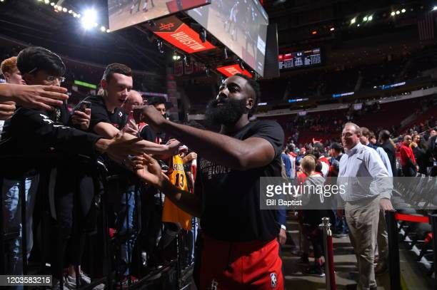 James Harden of the Houston Rockets walk off the court after a game against the Memphis Grizzlies on February 26 2020 at the Toyota Center in Houston...