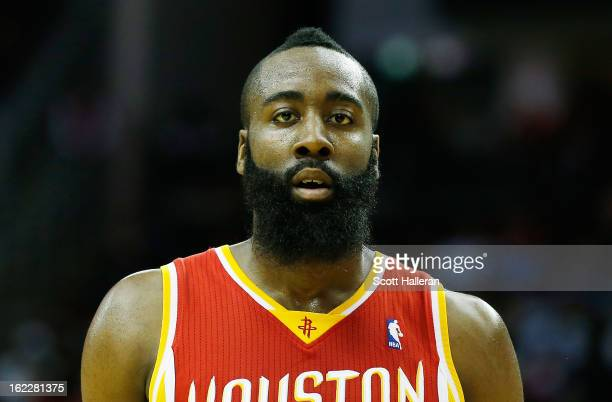 James Harden of the Houston Rockets walks off the court during the game against the Oklahoma City Thunder at Toyota Center on February 20 2013 in...