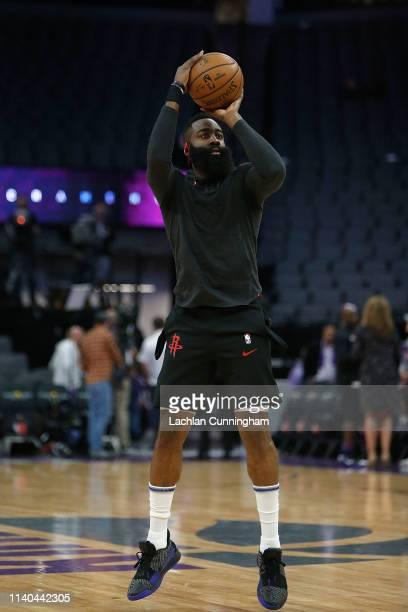 James Harden of the Houston Rockets warms up before the game against the Sacramento Kings at Golden 1 Center on April 2 2019 in Sacramento California...
