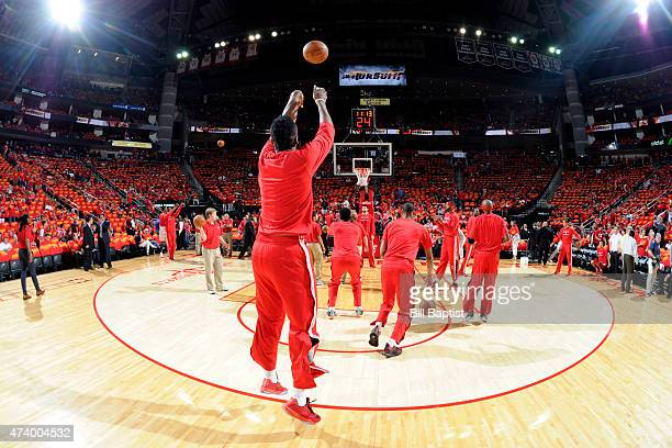 James Harden of the Houston Rockets warms up before the game against the Los Angeles Clippers in Game Seven of the Western Conference Semifinals...