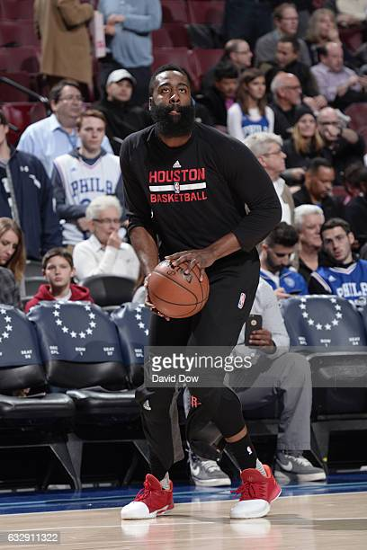 James Harden of the Houston Rockets warms up before the game against the Philadelphia 76ers at Wells Fargo Center on January 27 2017 in Philadelphia...