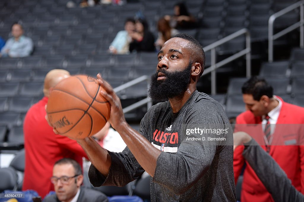 James Harden #13 of the Houston Rockets warms-up prior to the game against the Los Angeles Clippers at Staples Center on November 4, 2013 in Los Angeles, California.