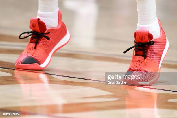 James Harden of the Houston Rockets wears a pair Adidas shoes during a NBA game against the New Orleans Pelicans at the Smoothie King Center on...