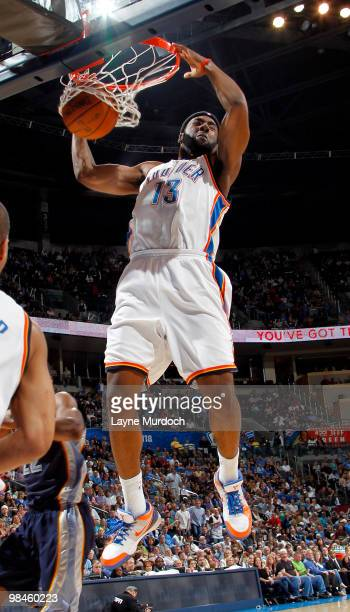James Harden of the Oklahoma City Thunder dunks against Memphis Grizzlies on April 14 2010 at the Ford Center in Oklahoma City Oklahoma NOTE TO USER...