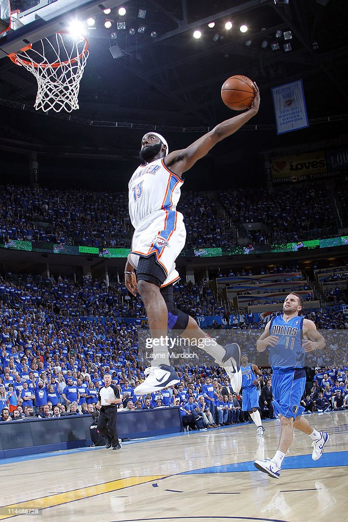 James Harden #13 of the Oklahoma City Thunder dunks against the Dallas Mavericks during Game Three of the Western Conference Finals in the 2011 NBA Playoffs on May 21, 2011 at the Oklahoma City Arena in Oklahoma City, Oklahoma.