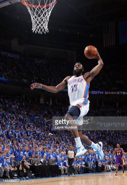 James Harden of the Oklahoma City Thunder goes to the basket during the Game One of the Western Conference Semifinals between the Los Angeles Lakers...