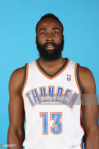 James Harden of the Oklahoma City Thunder poses for a portrait during 2011 NBA Media Day on December 13 2011 at the Oklahoma City Arena in Oklahoma...