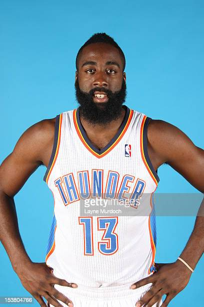 James Harden of the Oklahoma City Thunder poses for a portrait during 2012 NBA Media Day on October 1 2012 at the Thunder Events Center in Edmond...