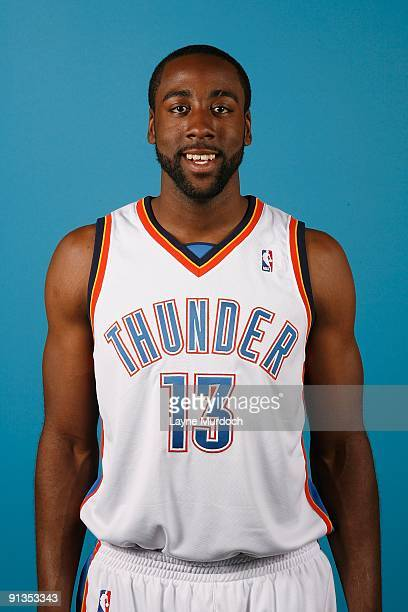 James Harden of the Oklahoma City Thunder poses for a portrait during 2009 NBA Media Day on September 28 2009 at the Cox Convention Center in...