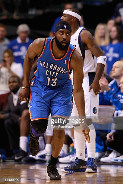 James Harden of the Oklahoma City Thunder reacts after making a three-pointer in the second half while taking on the Dallas Mavericks in Game Two of...