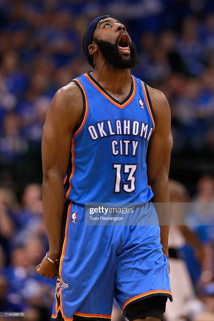James Harden #13 of the Oklahoma City Thunder reacts after making a three-pointer in the fourth quarter while taking on the Dallas Mavericks in Game Two of the Western Conference Finals during the 2011 NBA Playoffs at American Airlines Center on May 19, 2011 in Dallas, Texas.