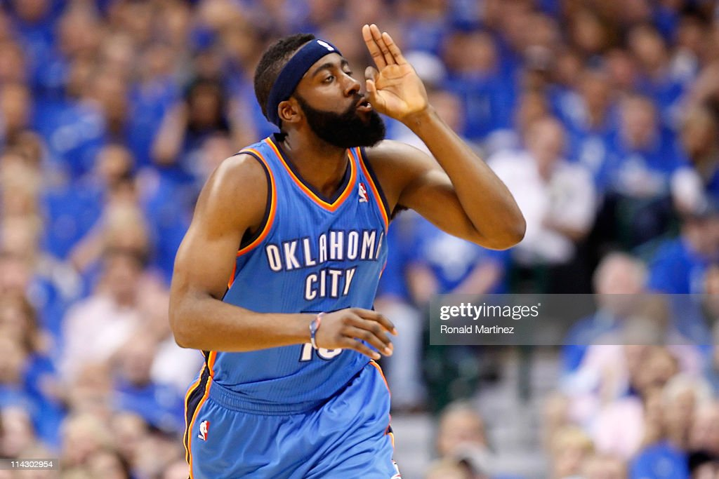 James Harden #13 of the Oklahoma City Thunder reacts in the first half while taking on the Dallas Mavericks in Game One of the Western Conference Finals during the 2011 NBA Playoffs at American Airlines Center on May 17, 2011 in Dallas, Texas.