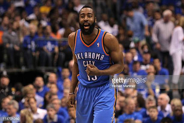 James Harden of the Oklahoma City Thunder reacts in the second half while taking on the Dallas Mavericks in Game Five of the Western Conference...