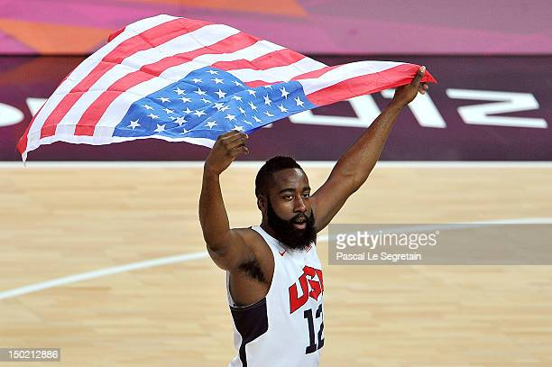 James Harden of the United States celebrates winning the Men's Basketball gold medal game between the United States and Spain on Day 16 of the London...
